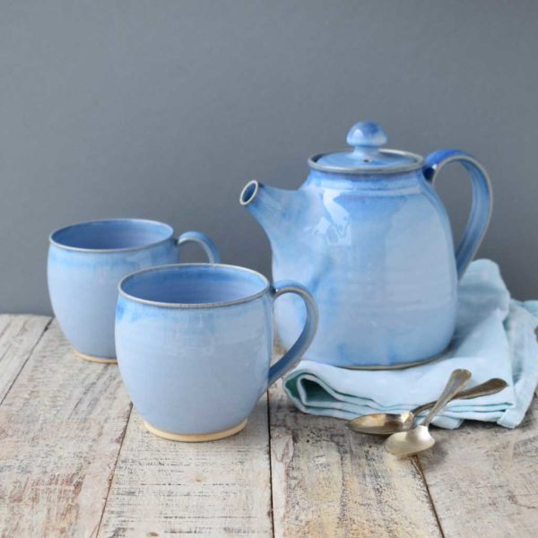 Round Cup and Teapot Blue Range Stoneware by Rosmarie Durr