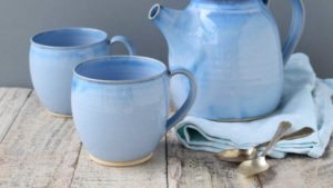 Round Cup and Teapot Stoneware by Rosmarie Durr