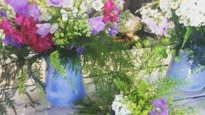 Floral arrangements in large Blue Range Jugs Rosemarie Durr Pottery