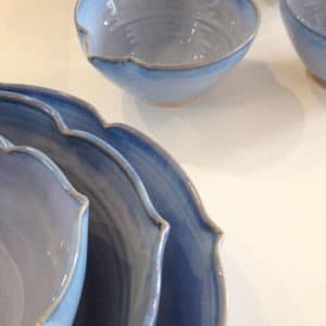 Scalloped bowls on display Rosemarie Durr Pottery