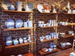 Shelves of pottery Rosemarie Durr Pottery