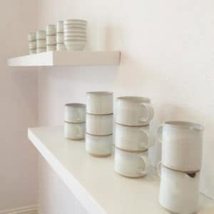 Stacking bowls on display Rosemarie Durr POttery