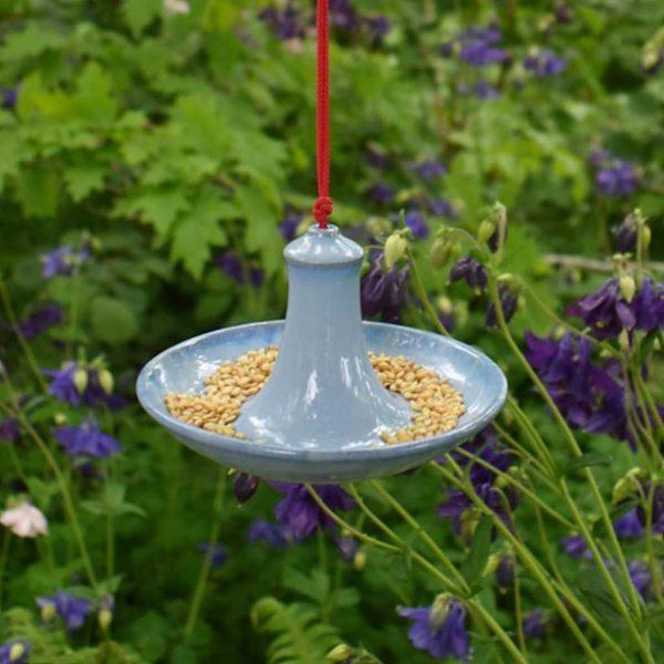 Blue Glazed Bird Feeder by Rosemarie Durr