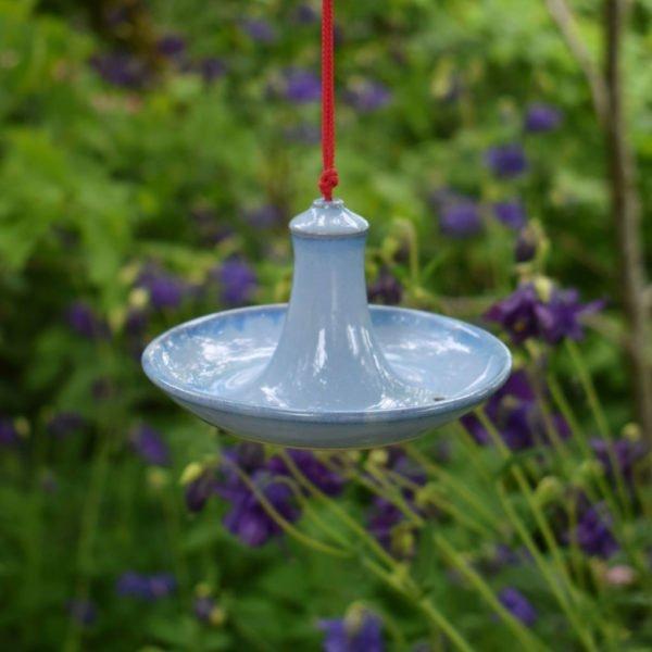Blue Glazed Hanging Bird Feeder by Rosemarie Durr