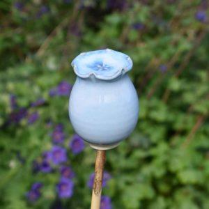 Glazed Poppy Seed Head Cane Topper by Rosemarie Durr