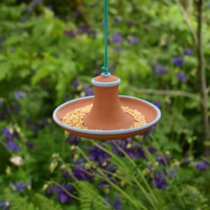 Terracotta Hanging Bird Feeder by Rosemarie Durr Pottery