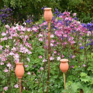 Three Poppy Seed Head Garden Cane Topper byRosemarie Durr Pottery